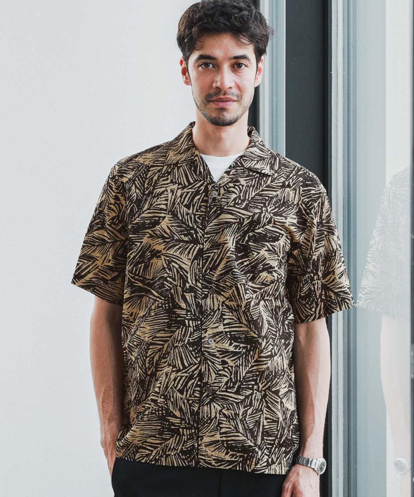 GLR柄オープンカラーシャツ