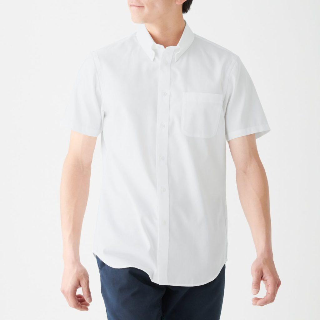 無印良品白シャツ前